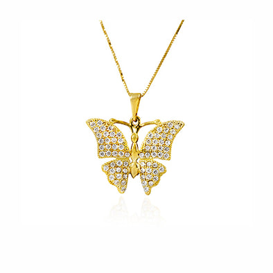Butterfly Diamond Pendant Necklace 14K Gold - dannynewfeld