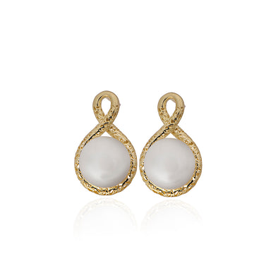 Pearl Love Knot Earrings 14K Gold - dannynewfeld
