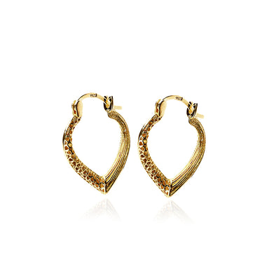 Textured Heart Hoop Earrings 14K Gold - dannynewfeld