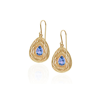 Pear-Shaped Gemstone Dangle Earrings 14K Gold - dannynewfeld