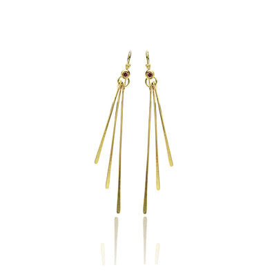 Gold Stick Dangle Tourmaline Gemstone Earrings 14K Gold - dannynewfeld