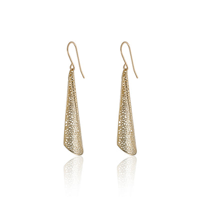 Curved Mesh Designed Earrings 14K Gold - dannynewfeld