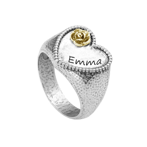 Heart-Shaped Engravable Floral Signet Ring Sterling Silver - dannynewfeld