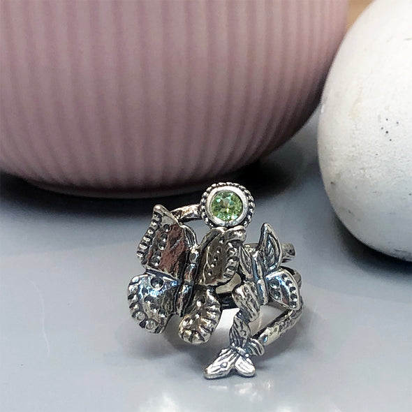 Gemstone Bypass Butterfly Ring Sterling Silver - dannynewfeld