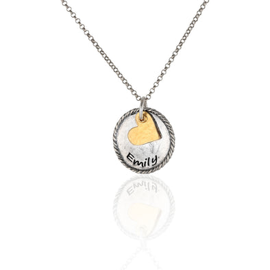 Heart and Round Pendant Engravable Necklace Sterling Silver - Danny Newfeld Collection