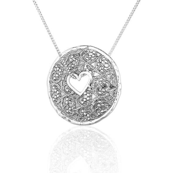 Open Heart Pendant Necklace Sterling Silver - Danny Newfeld Collection