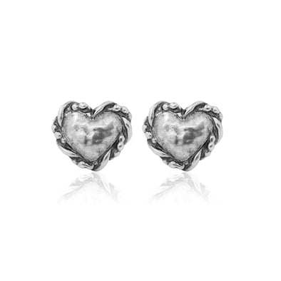 Heart Stud Earrings Sterling Silver - Danny Newfeld Collection
