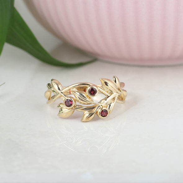 Bezel Set Gemstone Leaf Ring 14K Gold - Danny Newfeld Collection