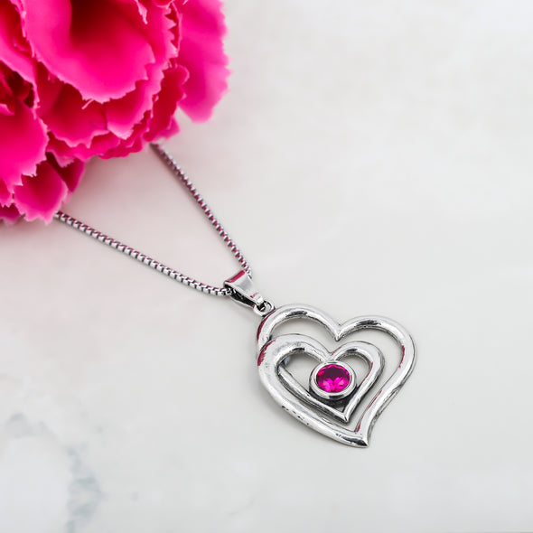 Double Heart Birthstone Necklace Sterling Silver - dannynewfeld