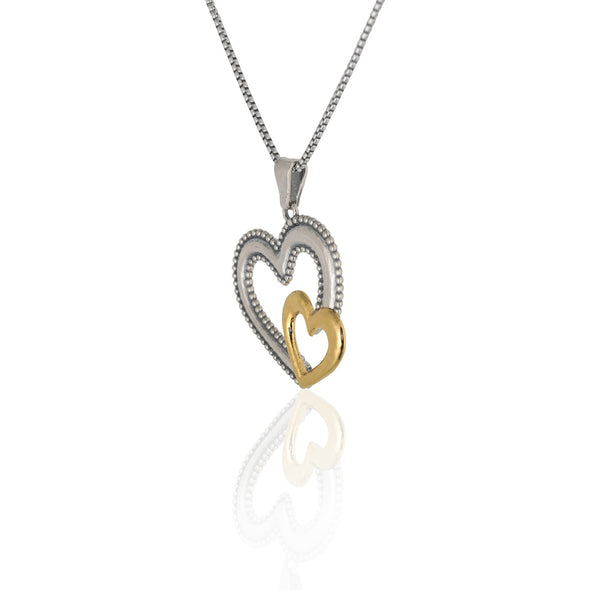 Nested Heart Pendant Necklace Sterling Silver - Danny Newfeld Collection
