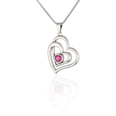 Double Heart Birthstone Necklace Sterling Silver - Danny Newfeld Collection