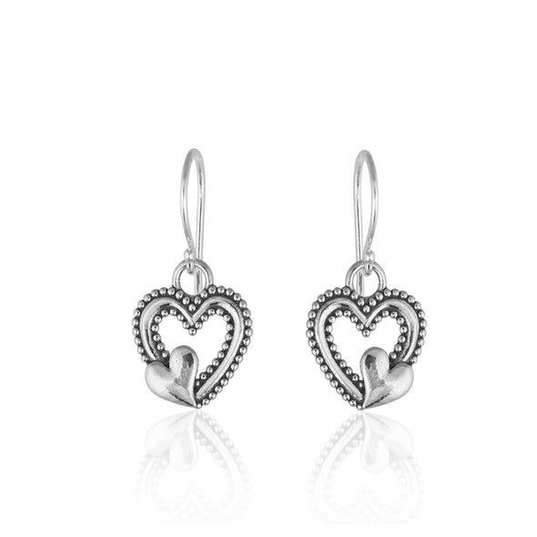 Nested Heart Earrings Sterling Silver - dannynewfeld