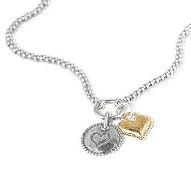 Sterling Silver Beaded Necklace with with Two Heart Charms - Danny Newfeld Collection