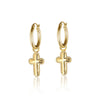 Cross Charm Hoop Earrings - Danny Newfeld Collection