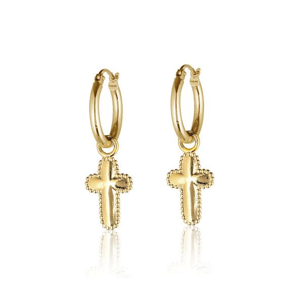 Cross Charm Hoop Earrings - dannynewfeld