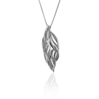 Beaded Pendant Necklace Sterling Silver - Danny Newfeld Collection