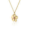 Pink Tourmaline Gemstone Floral Pendant Necklace 14K Gold - dannynewfeld