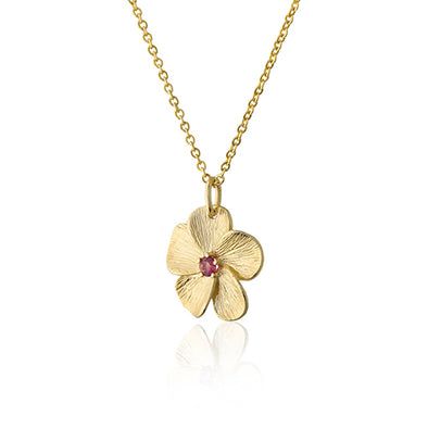 Pink Tourmaline Gemstone Floral Pendant Necklace 14K Gold - Danny Newfeld Collection
