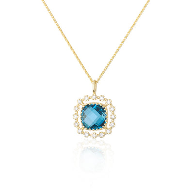 London Blue Topaz and Diamond Pendant Necklace 14K Gold - dannynewfeld