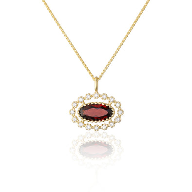 Garnet and Diamond Pendant Necklace 14K Gold - Danny Newfeld Collection