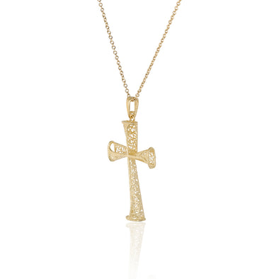 Filigree Cross Pendant Necklace 14K Gold - dannynewfeld