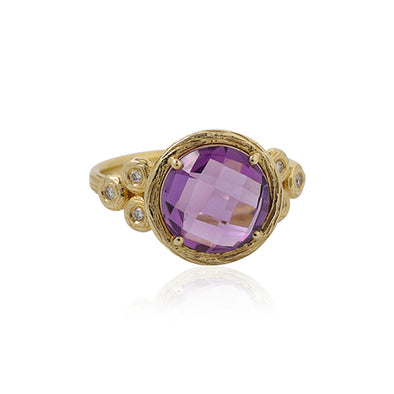 Round Gemstone and Diamond Ring 14K Gold - dannynewfeld