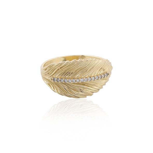 Diamond Accent Leaf Ring 14K Gold - Danny Newfeld Collection