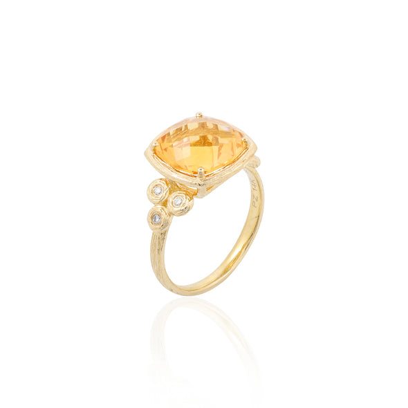 Cushion Shaped Gemstone and Diamond Ring 14K Gold - dannynewfeld