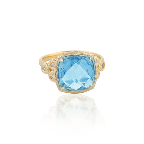 Cushion Shaped Gemstone and Diamond Ring 14K Gold - Danny Newfeld Collection