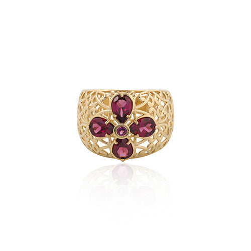 Rhodolite Gemstone Filigree Band Ring 14K Gold - dannynewfeld
