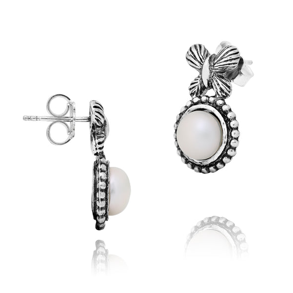 Butterflies and Pearls Stud Earrings Sterling Silver - Danny Newfeld Collection