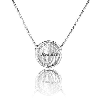 Personalized Round Pendant Necklace Sterling Silver - dannynewfeld