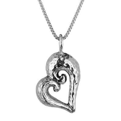 Sculpted Heart Pendant Necklace Sterling Silver - dannynewfeld