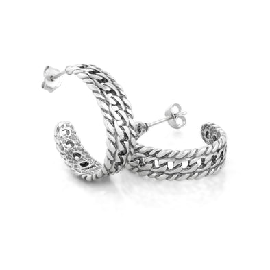Chain Design Hoop Earrings Sterling Silver - dannynewfeld