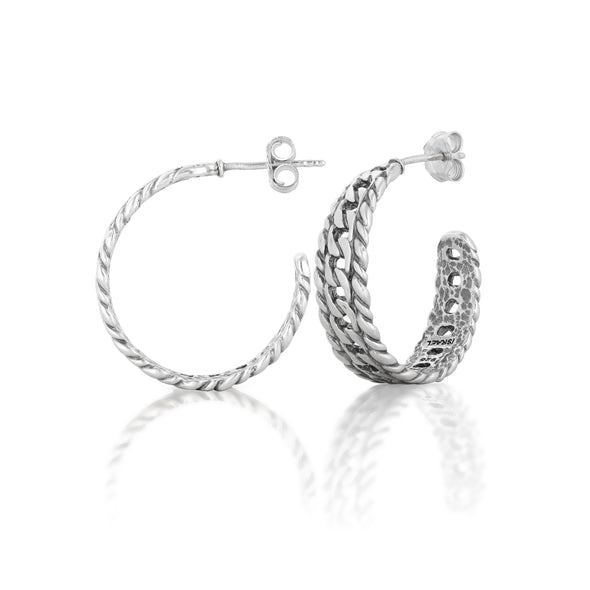 Chain Design Hoop Earrings Sterling Silver - Danny Newfeld Collection