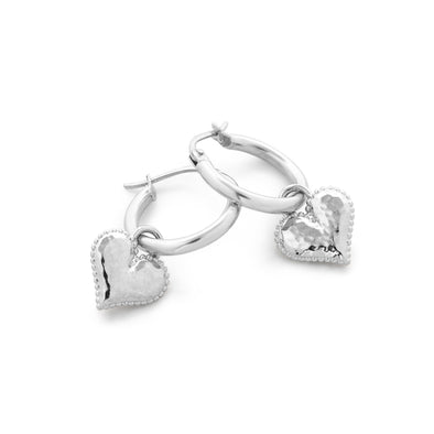 Heart Charm Hoop Earrings Sterling Silver - dannynewfeld