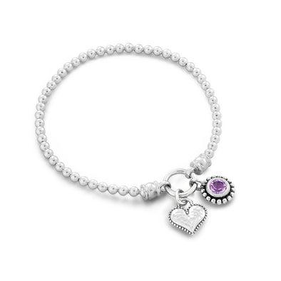Heart and Birthstone Charm Stretch Bracelet Sterling Silver - dannynewfeld