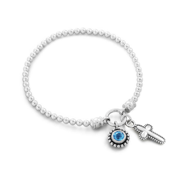 Cross and Birthstone Charm Bracelet Sterling Silver - dannynewfeld