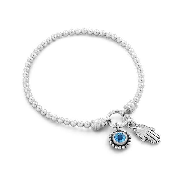 Birthstone & Hamsa Stretch Charm Bracelet Sterling Silver - Danny Newfeld Collection