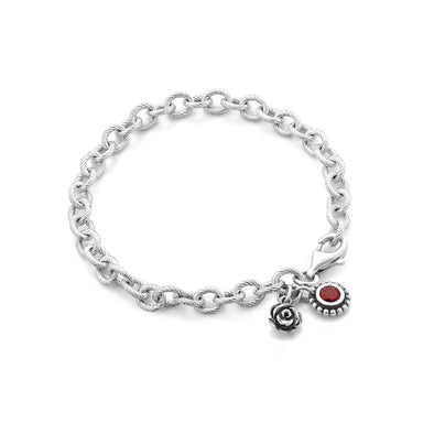 Flower and Birthstone Charm Bracelet Sterling Silver - dannynewfeld