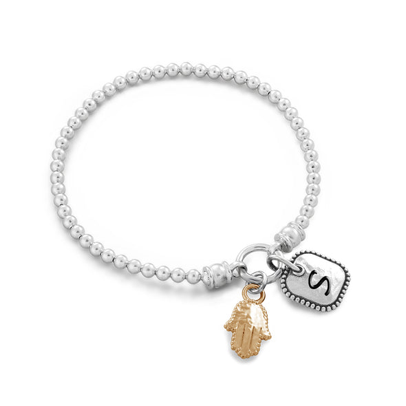 Personalized Best Friend Stretch Hamsa Charm Bracelet Sterling Silver - dannynewfeld