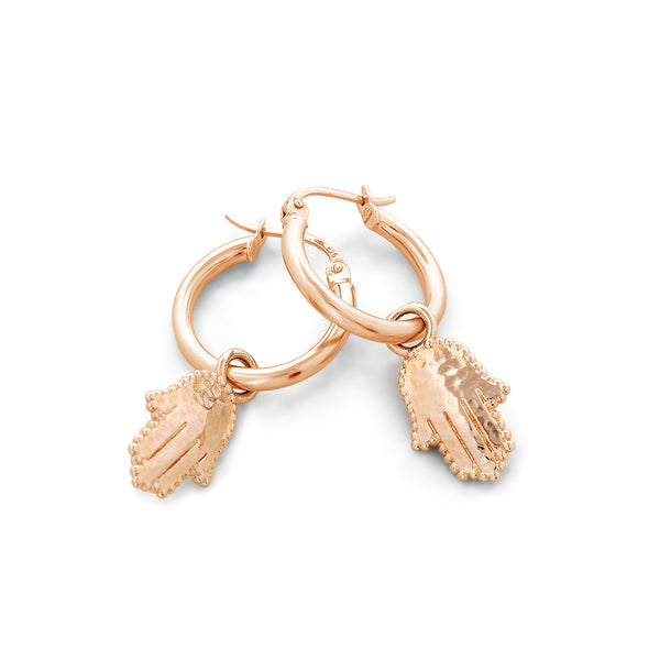Hamsa Charm Hoop Earrings - dannynewfeld