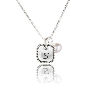 Engravable Square Pendant and Pearl Necklace Sterling Silver - dannynewfeld