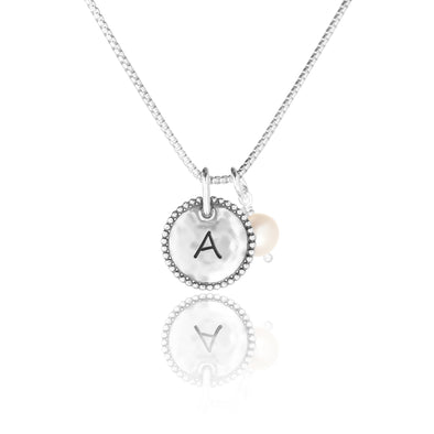 Engravable Round Pendant and Pearl Necklace Sterling Silver - dannynewfeld