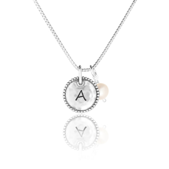 Engravable Round Pendant and Pearl Necklace - dannynewfeld