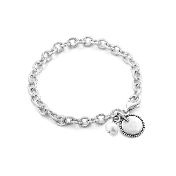Pearl and Circle Charms - Engravable Bracelet Sterling Silver - dannynewfeld