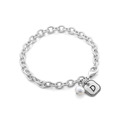 Bracelet with Pearl and Square Engravable Charms Sterling Silver - Danny Newfeld Collection