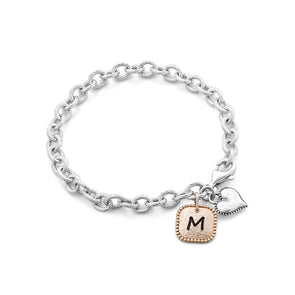 Personalized Heart and Square Charm Bracelet - Danny Newfeld Collection