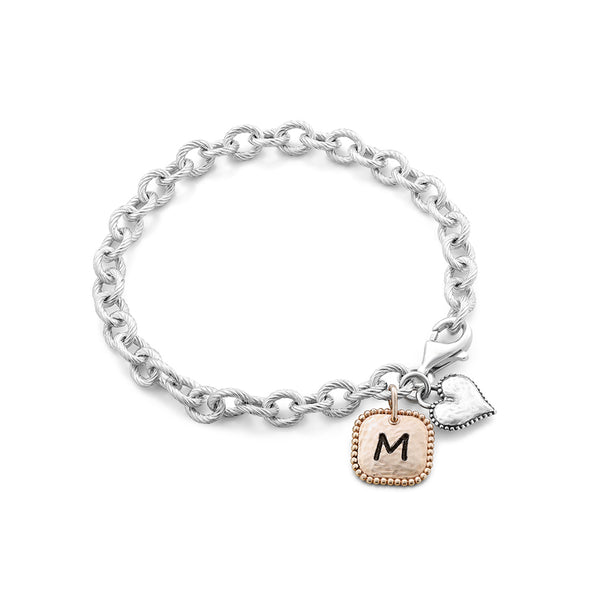 Personalized Heart and Square Charm Bracelet - dannynewfeld