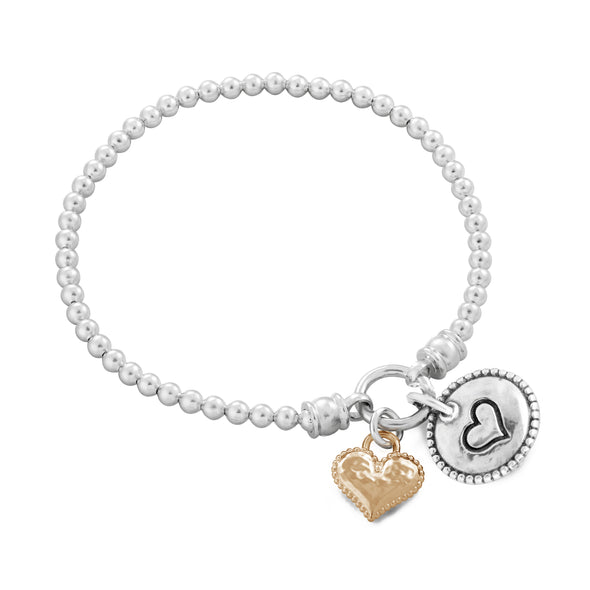 Stretch Charm Bracelet with Two Heart Charms Sterling Silver - Danny Newfeld Collection